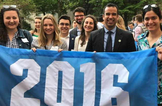 Brandon Martinez Gonzalez '16CC (center) with members of the Columbia College Class of 2016