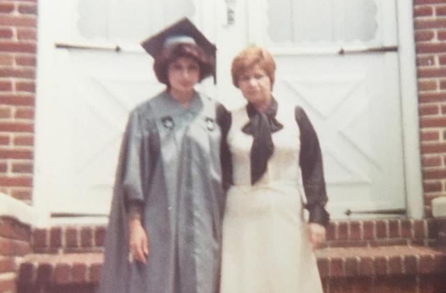 Marie Serrano during her graduation in '77